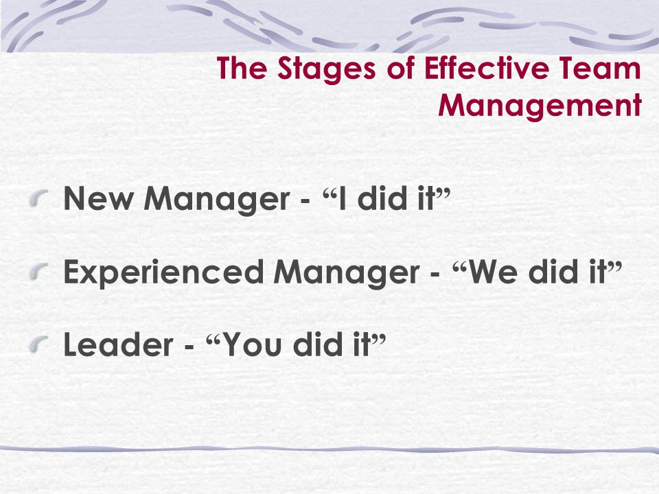 The Stages of Effective Team Management New Manager - I did it Experienced Manager - We did it Leader - You did it
