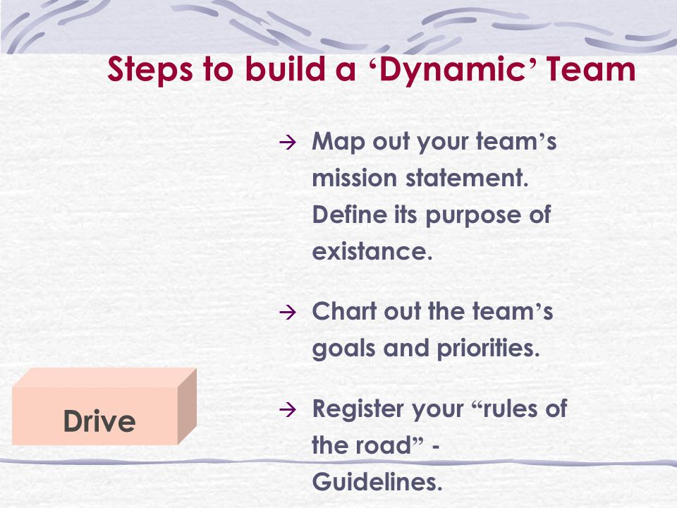 Steps to build a ' Dynamic ' Team Drive  Map out your team ' s mission statement.