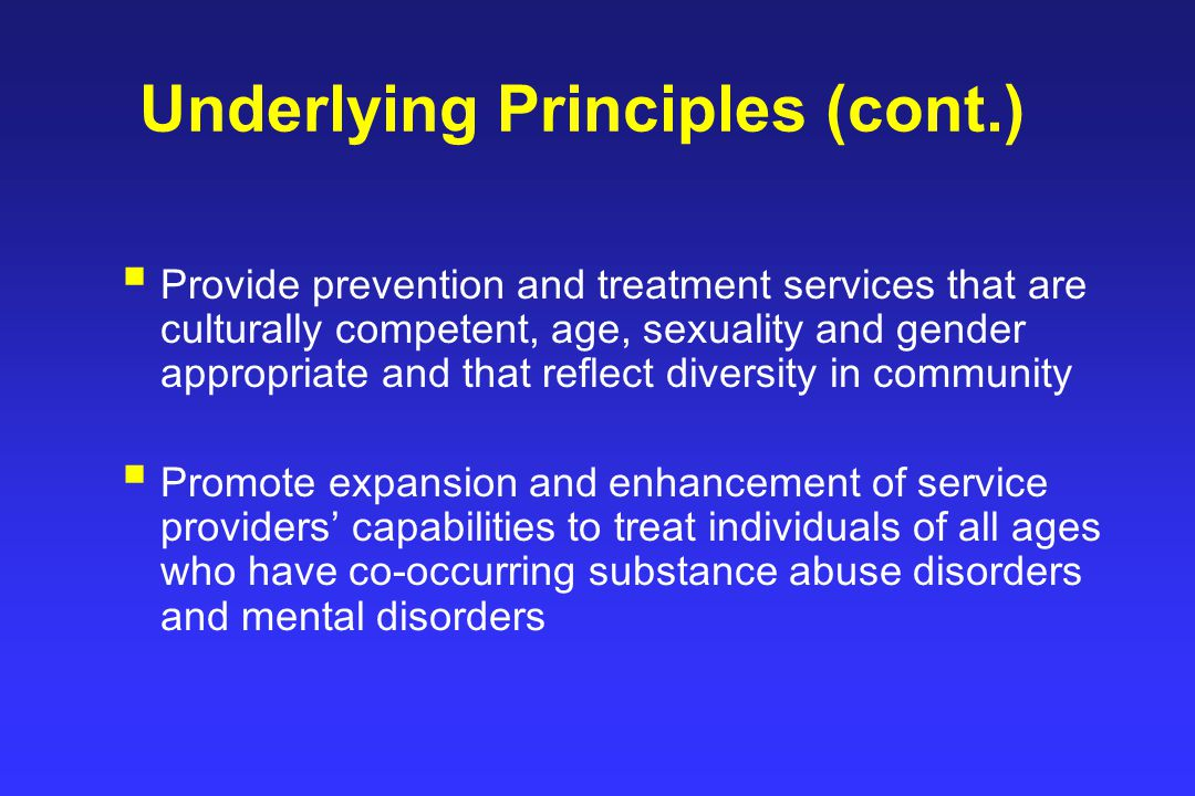 Underlying Principles (cont.)  Provide prevention and treatment services that are culturally competent, age, sexuality and gender appropriate and that reflect diversity in community  Promote expansion and enhancement of service providers' capabilities to treat individuals of all ages who have co-occurring substance abuse disorders and mental disorders