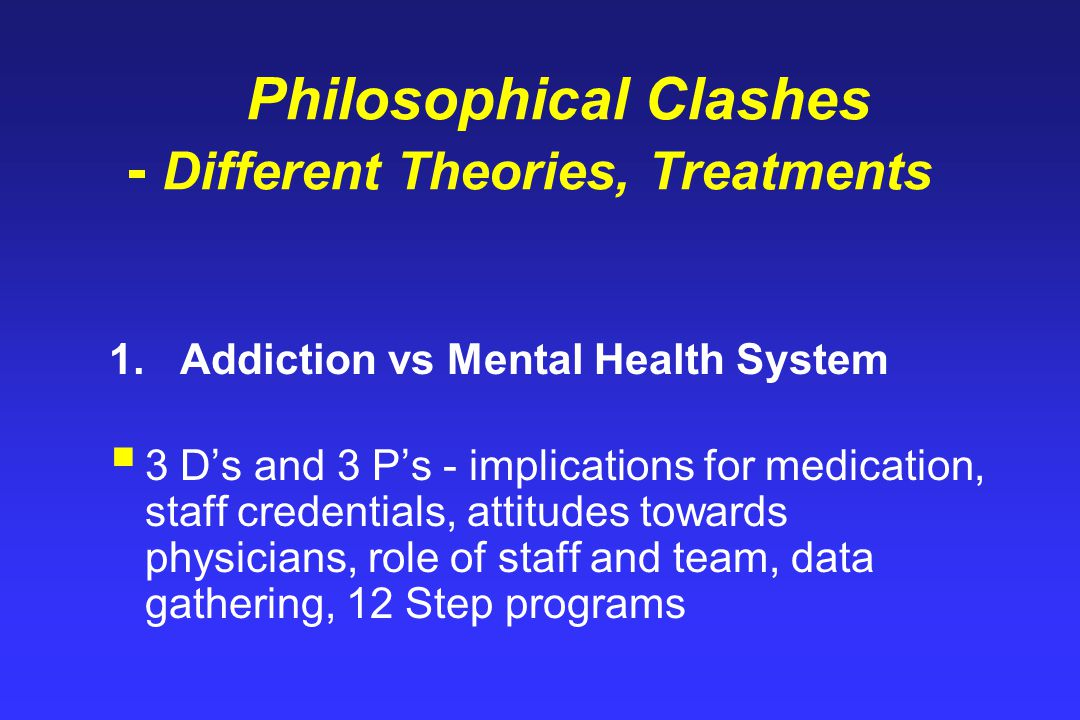 Philosophical Clashes - Different Theories, Treatments 1.