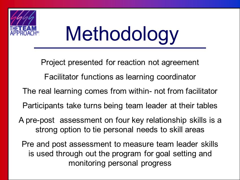 Methodology Project presented for reaction not agreement Facilitator functions as learning coordinator The real learning comes from within- not from facilitator Participants take turns being team leader at their tables A pre-post assessment on four key relationship skills is a strong option to tie personal needs to skill areas Pre and post assessment to measure team leader skills is used through out the program for goal setting and monitoring personal progress