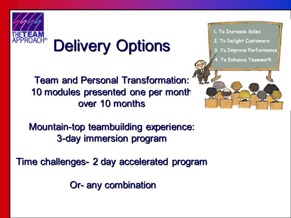 Evaluation sessions & train-the- trainer Condensed- Accelerated Evaluation Sessions Incentive to come as a team.