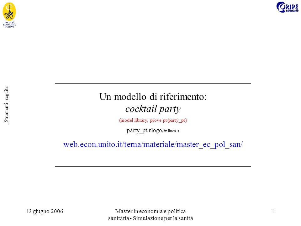 13 giugno 2006Master in economia e politica sanitaria - Simulazione per la sanità 1 _Strumenti, seguito _______________________________________ Un modello di riferimento: cocktail party (model library, prove pt/party_pt) party_pt.nlogo, in linea a web.econ.unito.it/terna/materiale/master_ec_pol_san/ _______________________________________