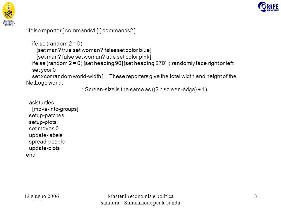 13 giugno 2006Master in economia e politica sanitaria - Simulazione per la sanità 3 ;ifelse reporter [ commands1 ] [ commands2 ] ifelse (random 2 = 0) [set man.