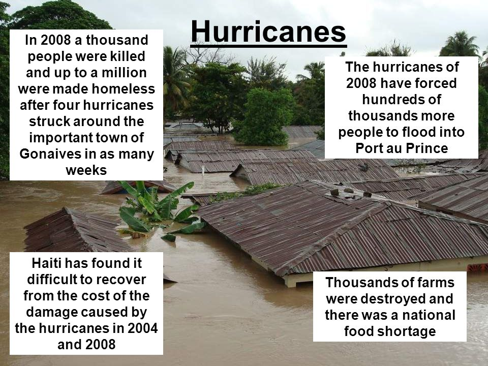 Hurricanes In 2008 a thousand people were killed and up to a million were made homeless after four hurricanes struck around the important town of Gona