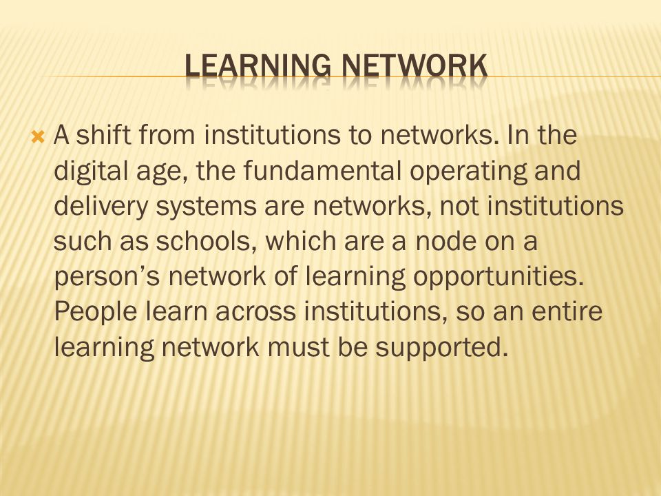  A shift from institutions to networks.