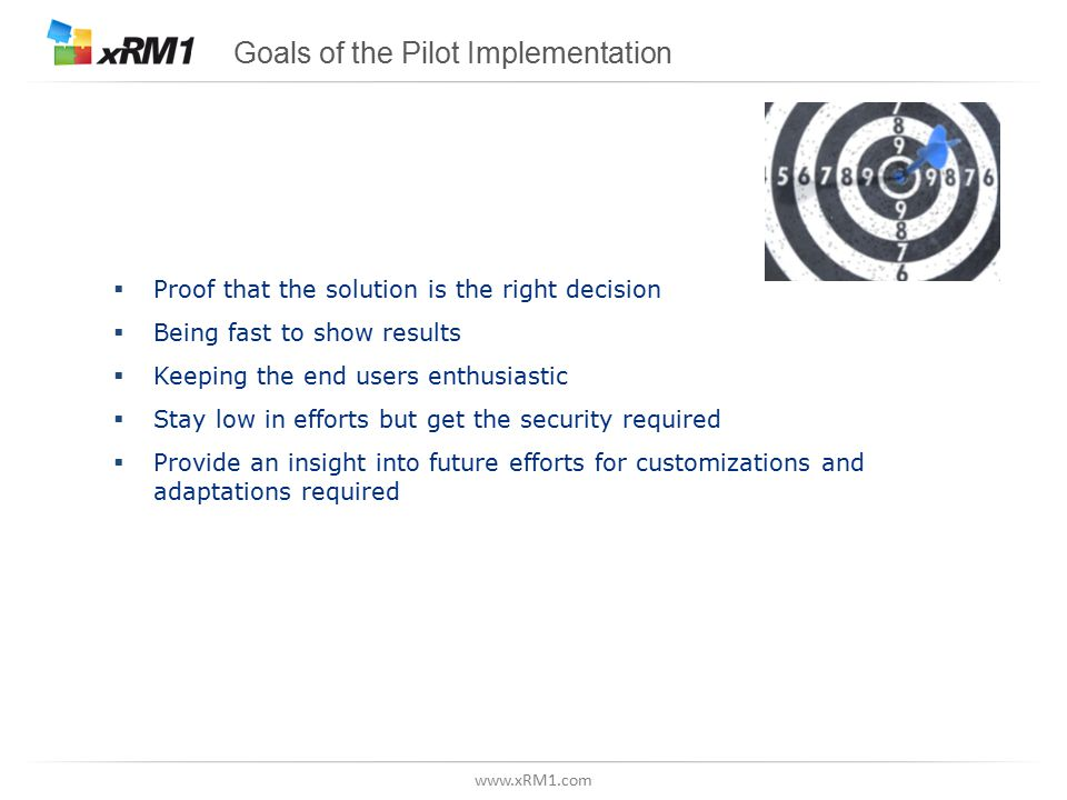 www.xRM1.com Goals of the Pilot Implementation  Proof that the solution is the right decision  Being fast to show results  Keeping the end users enthusiastic  Stay low in efforts but get the security required  Provide an insight into future efforts for customizations and adaptations required