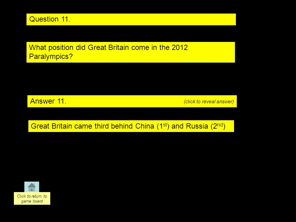 Question 11. Answer 11. What position did Great Britain come in the 2012 Paralympics.