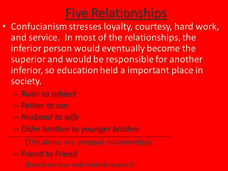 Five Relationships Confucianism stresses loyalty, courtesy, hard work, and service.