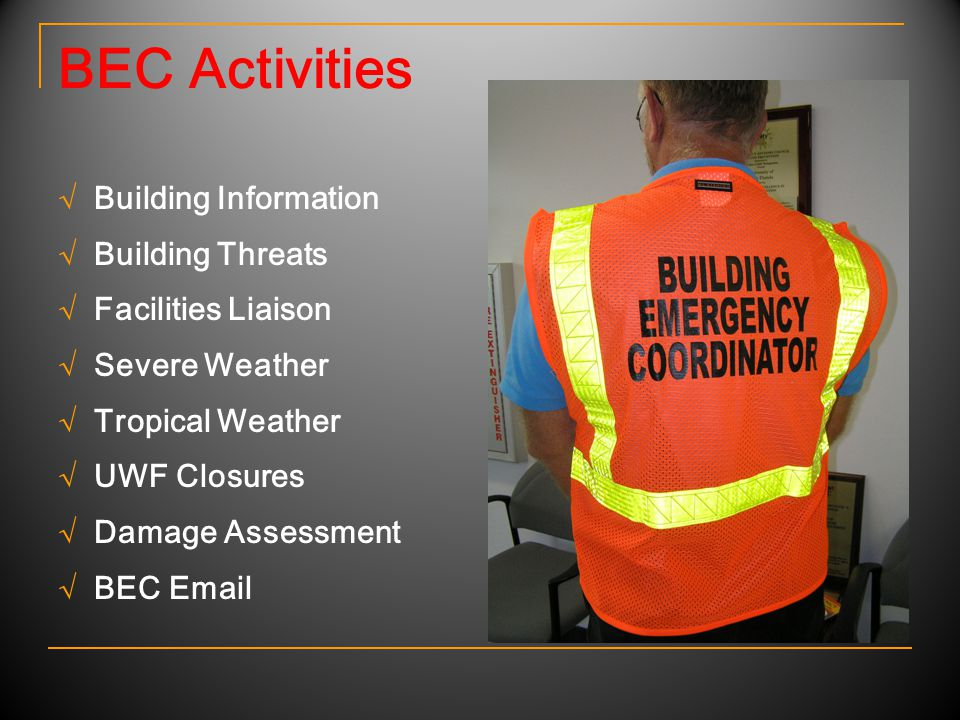 BEC Activities √ Building Information √ Building Threats √ Facilities Liaison √ Severe Weather √ Tropical Weather √ UWF Closures √ Damage Assessment √ BEC Email