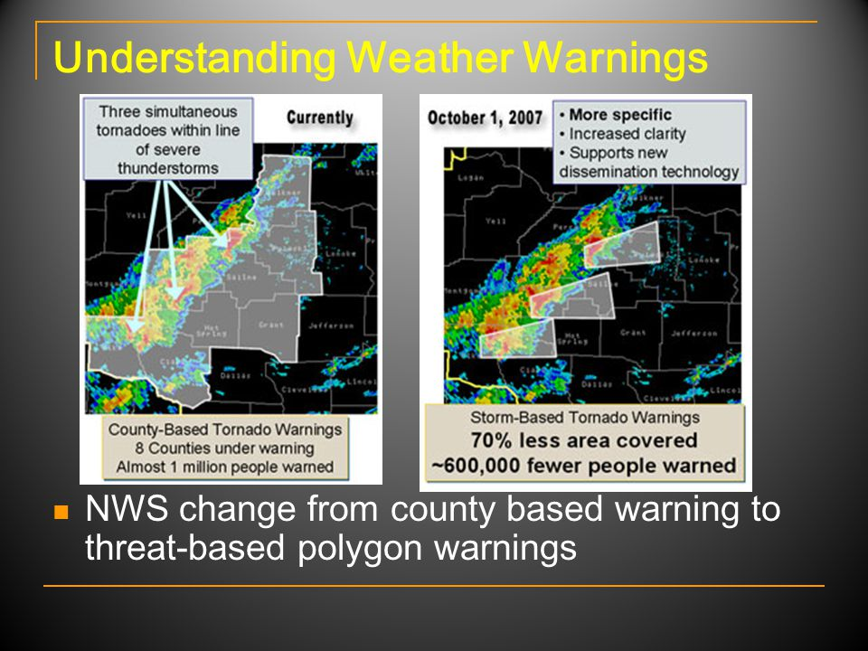 Understanding Weather Warnings NWS change from county based warning to threat-based polygon warnings