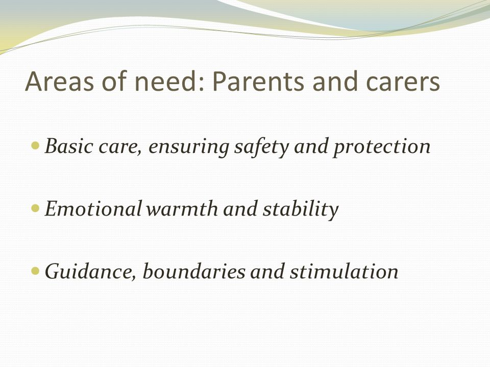 Areas of need: Parents and carers Basic care, ensuring safety and protection Emotional warmth and stability Guidance, boundaries and stimulation