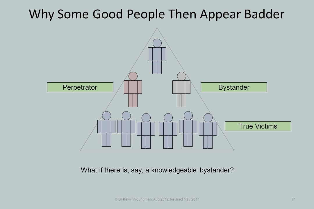 © Dr Kelvyn Youngman, Aug 2012, Revised May 201471 Why Some Good People Then Appear Badder What if there is, say, a knowledgeable bystander.