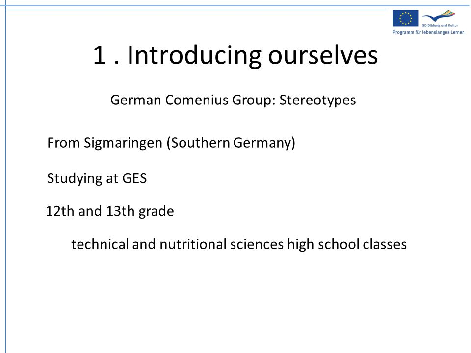 1. Introducing ourselves German Comenius Group: Stereotypes From Sigmaringen (Southern Germany) Studying at GES 12th and 13th grade technical and nutr