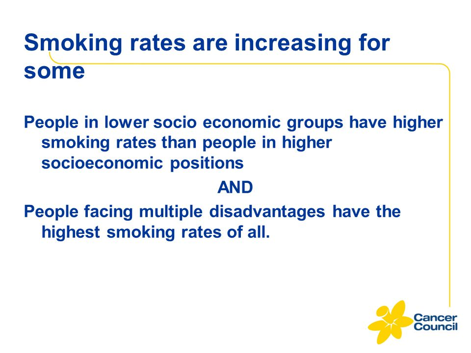 Smoking rates are increasing for some People in lower socio economic groups have higher smoking rates than people in higher socioeconomic positions AN