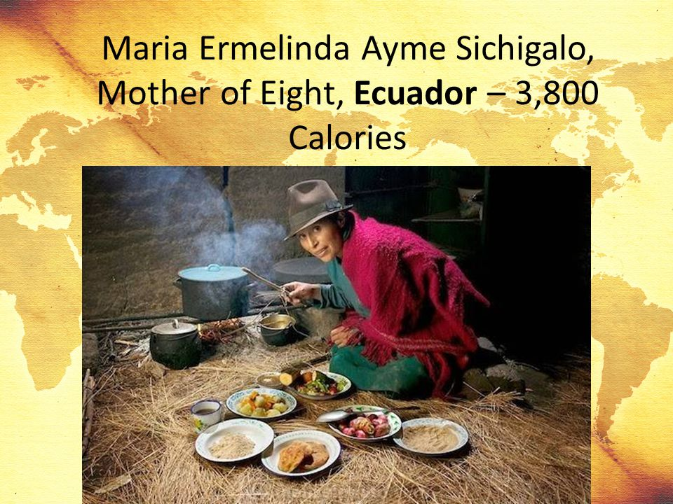 Maria Ermelinda Ayme Sichigalo, Mother of Eight, Ecuador – 3,800 Calories
