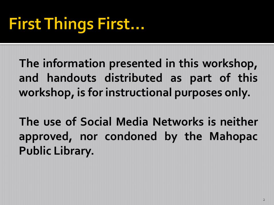 The information presented in this workshop, and handouts distributed as part of this workshop, is for instructional purposes only.