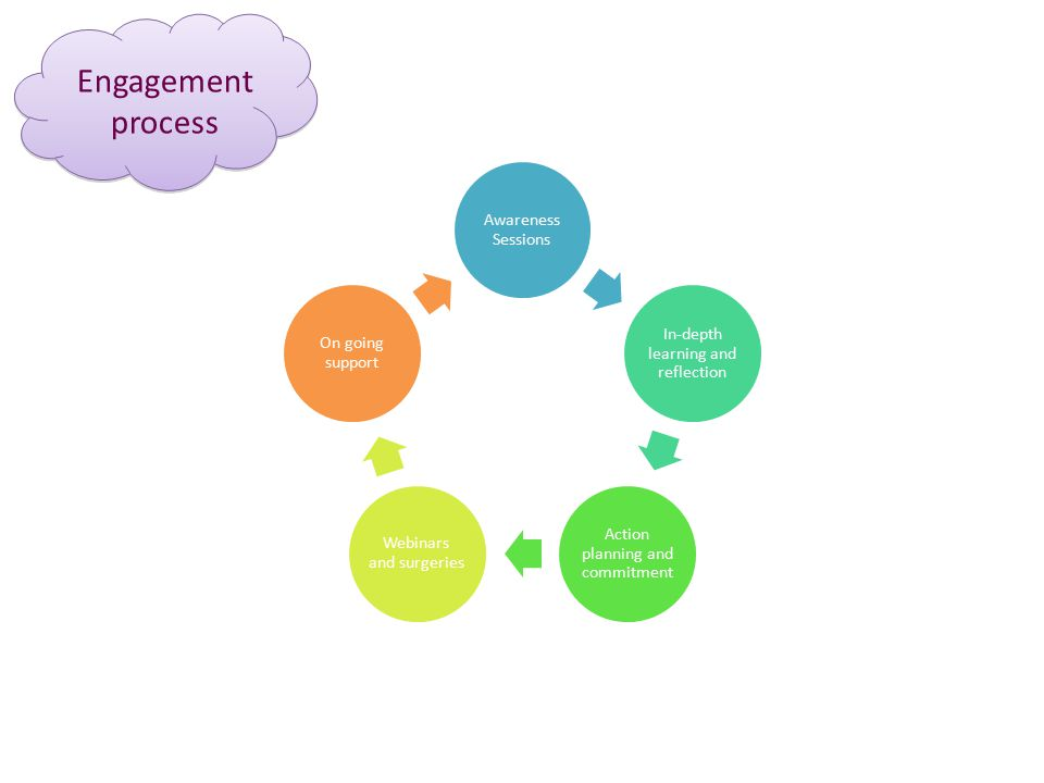 Engagement process Awareness Sessions In-depth learning and reflection Action planning and commitment Webinars and surgeries On going support