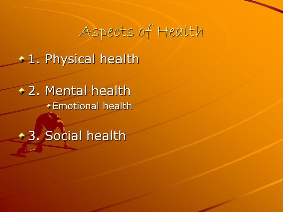 Aspects of Health 1. Physical health 2. Mental health Emotional health 3. Social health