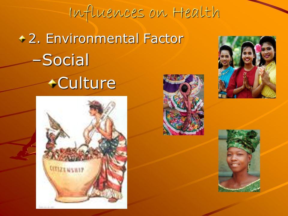Influences on Health 2. Environmental Factor –Social Culture