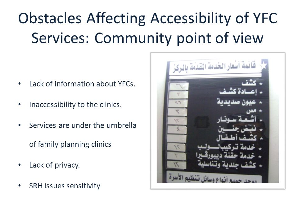 Obstacles Affecting Accessibility of YFC Services: Community point of view Lack of information about YFCs. Inaccessibility to the clinics. Services ar