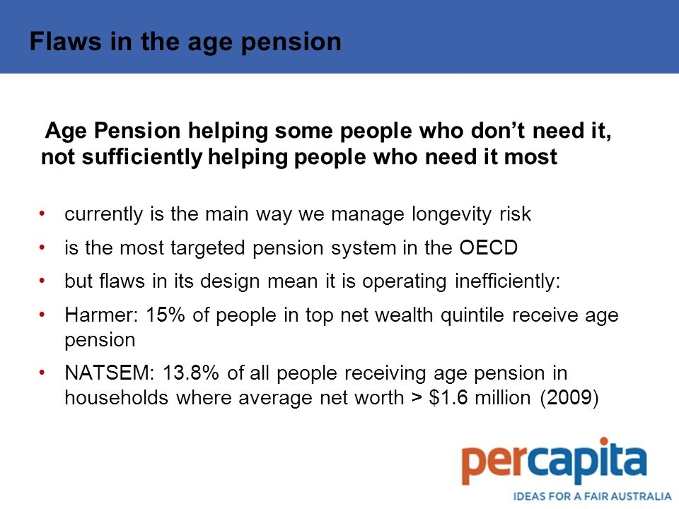 Flaws in the age pension Age Pension helping some people who don't need it, not sufficiently helping people who need it most currently is the main way we manage longevity risk is the most targeted pension system in the OECD but flaws in its design mean it is operating inefficiently: Harmer: 15% of people in top net wealth quintile receive age pension NATSEM: 13.8% of all people receiving age pension in households where average net worth > $1.6 million (2009)
