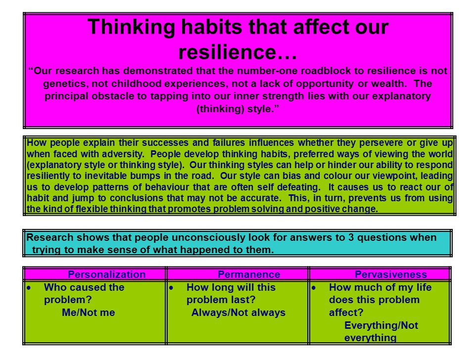 "Thinking habits that affect our resilience… ""Our research has demonstrated that the number-one roadblock to resilience is not genetics, not childhood"