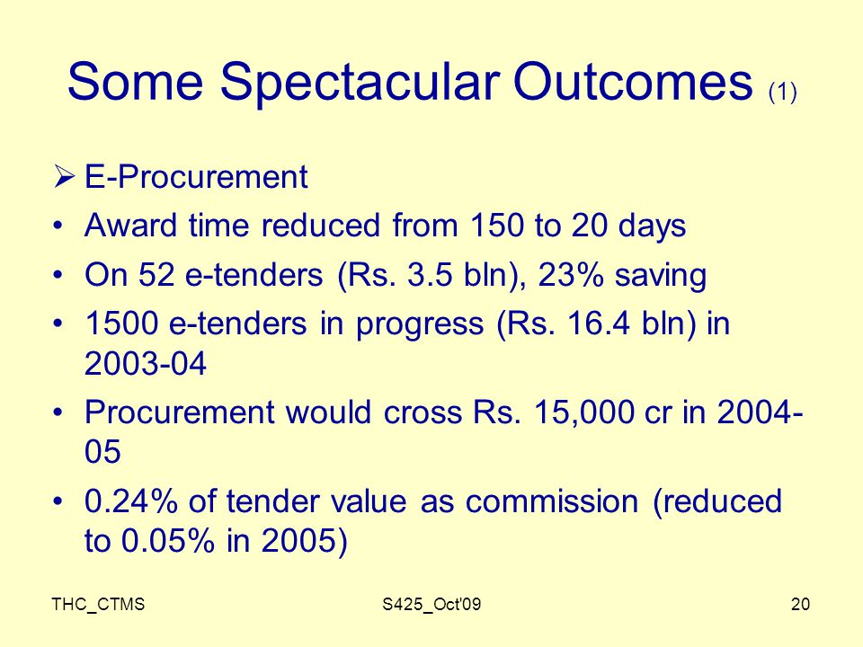 THC_CTMSS425_Oct 0920 Some Spectacular Outcomes (1)  E-Procurement Award time reduced from 150 to 20 days On 52 e-tenders (Rs.