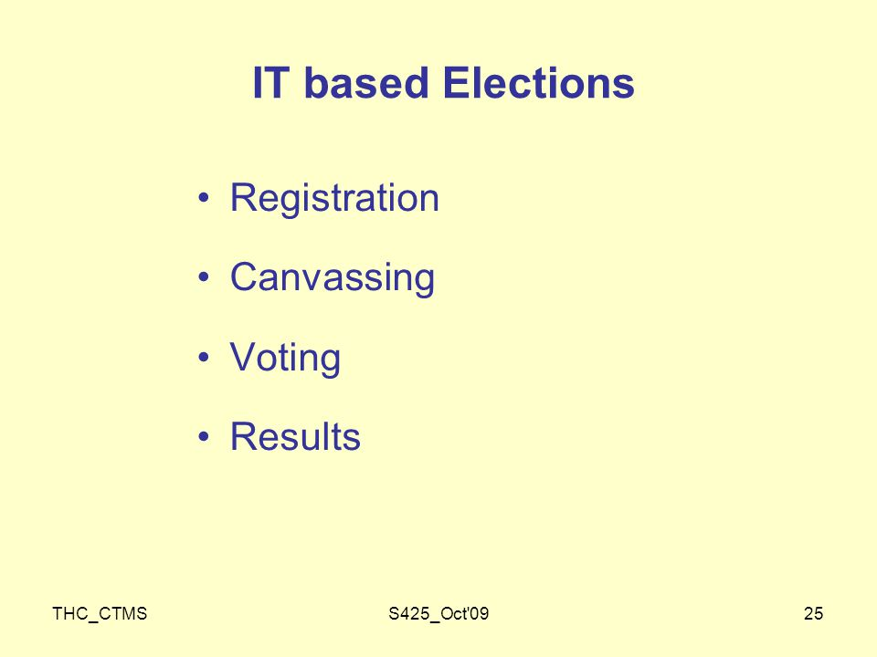 THC_CTMSS425_Oct 0925 IT based Elections Registration Canvassing Voting Results