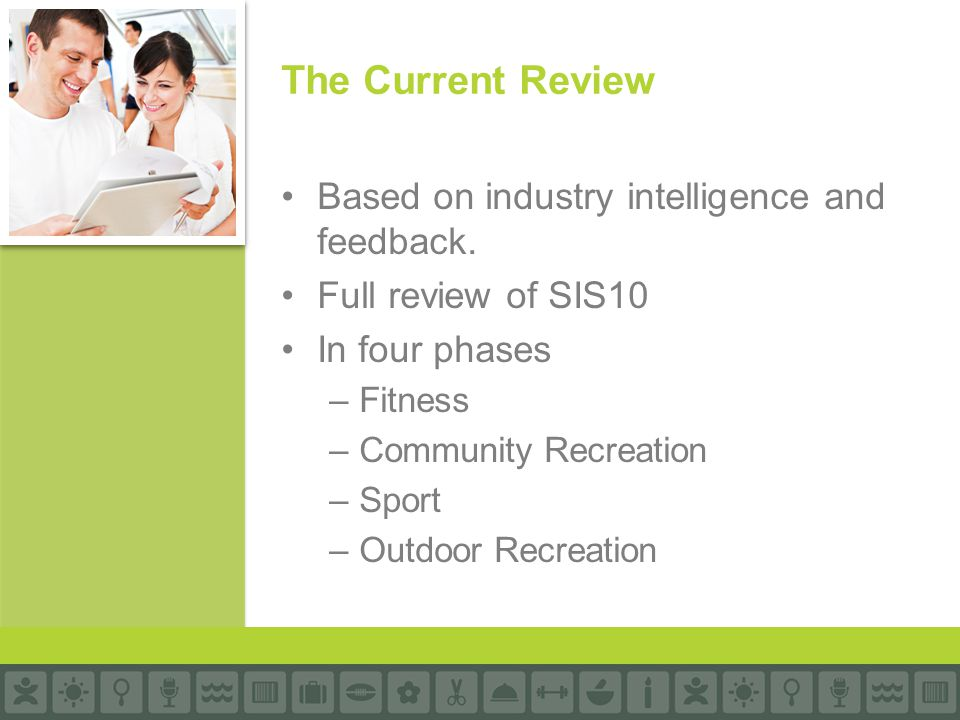 Based on industry intelligence and feedback. Full review of SIS10 In four phases –Fitness –Community Recreation –Sport –Outdoor Recreation The Current