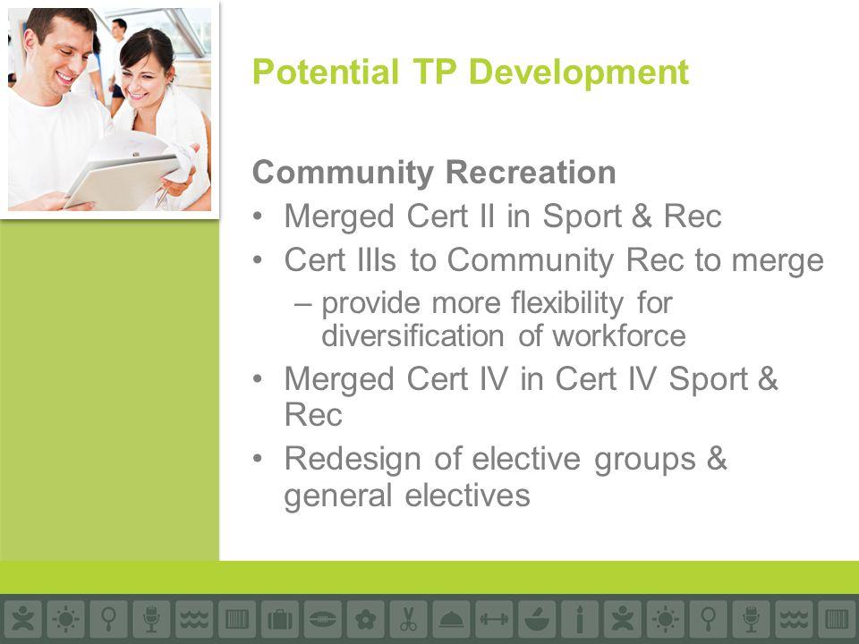 Community Recreation Merged Cert II in Sport & Rec Cert IIIs to Community Rec to merge –provide more flexibility for diversification of workforce Merg