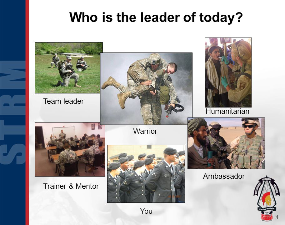4 Who is the leader of today? Warrior Ambassador Humanitarian Trainer & Mentor Team leader You