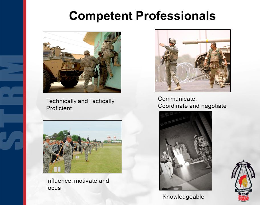 Competent Professionals Technically and Tactically Proficient Communicate, Coordinate and negotiate Knowledgeable Influence, motivate and focus