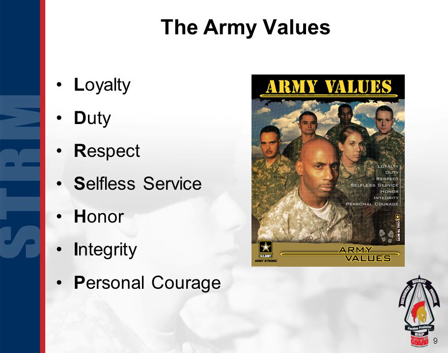 9 The Army Values Loyalty Duty Respect Selfless Service Honor Integrity Personal Courage