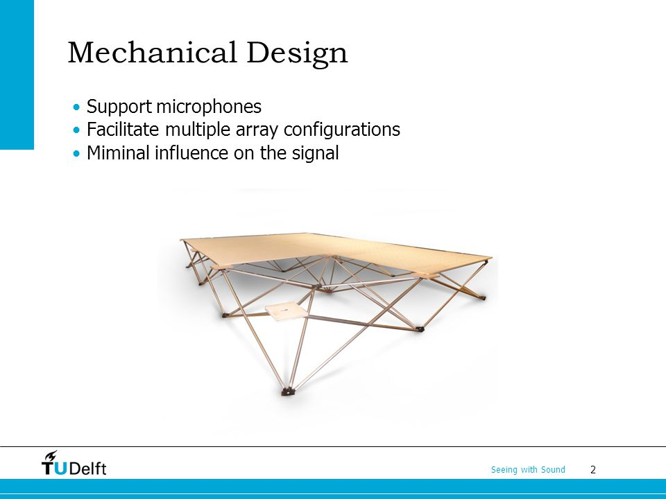2 Seeing with Sound Mechanical Design Support microphones Facilitate multiple array configurations Miminal influence on the signal