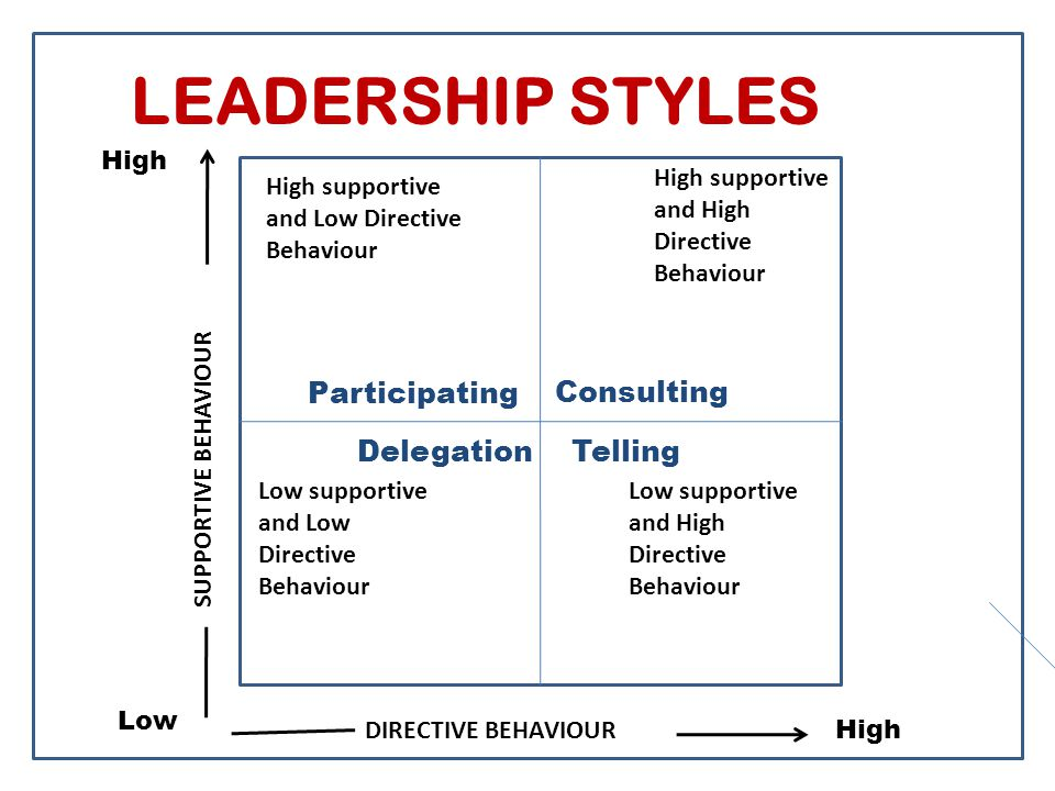 LEADERSHIP STYLES High supportive and Low Directive Behaviour Low supportive and Low Directive Behaviour Low supportive and High Directive Behaviour High supportive and High Directive Behaviour Participating Consulting DelegationTelling High Low High SUPPORTIVE BEHAVIOUR DIRECTIVE BEHAVIOUR