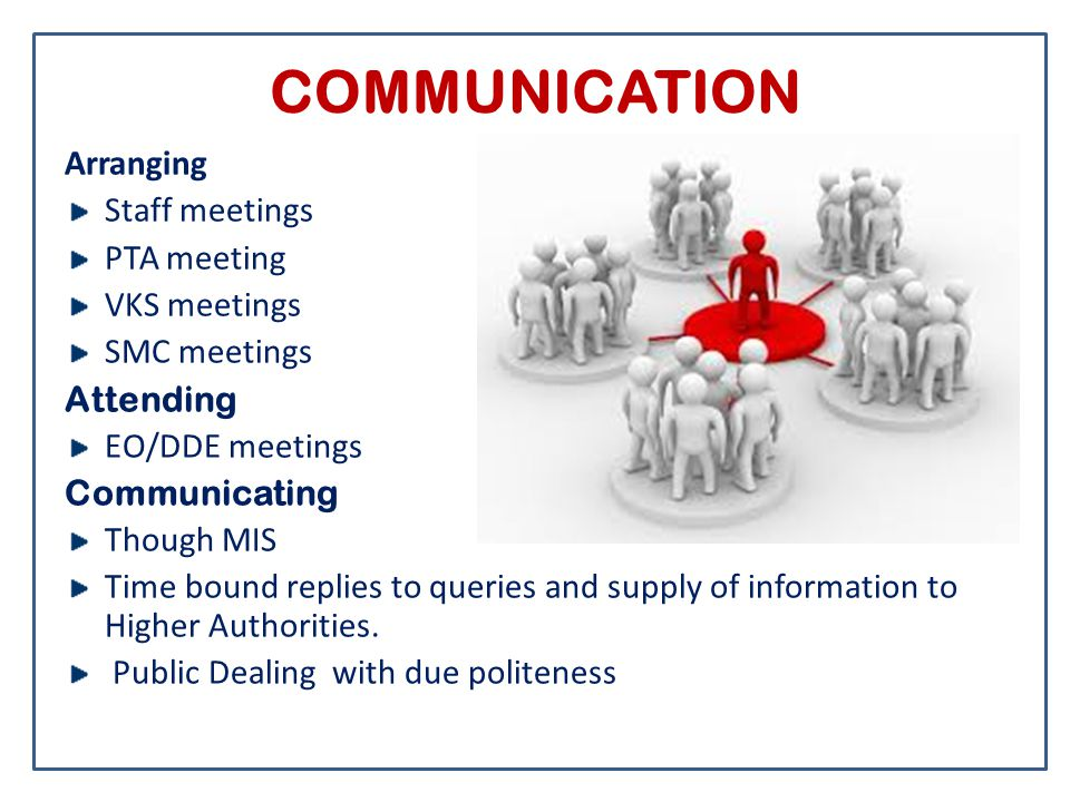 COMMUNICATION Arranging Staff meetings PTA meeting VKS meetings SMC meetings Attending EO/DDE meetings Communicating Though MIS Time bound replies to queries and supply of information to Higher Authorities.