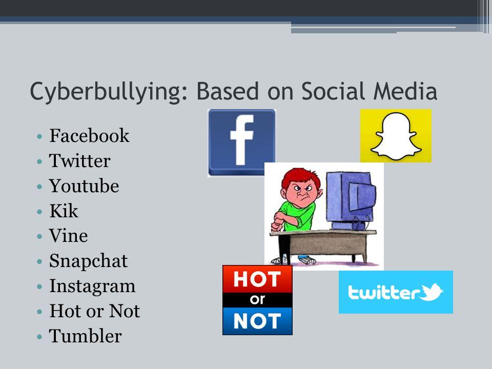 Cyberbullying: Based on Social Media Facebook Twitter Youtube Kik Vine Snapchat Instagram Hot or Not Tumbler