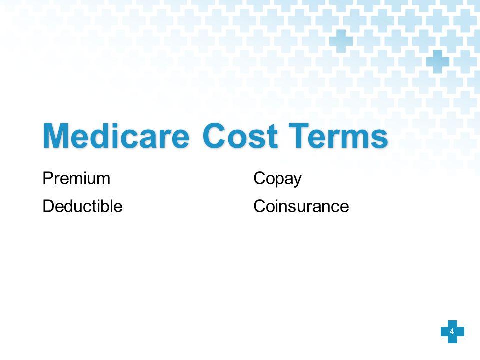 Medicare Cost Terms Premium Deductible Copay Coinsurance 4