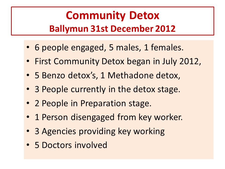 Community Detox Ballymun 31st December 2012 6 people engaged, 5 males, 1 females.