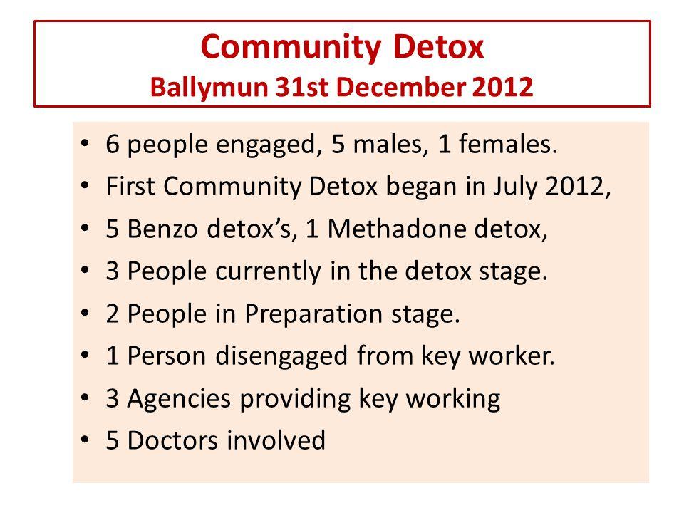 Community Detox Ballymun 30th June 2013 20 people engaged, 16 males, 4 females.