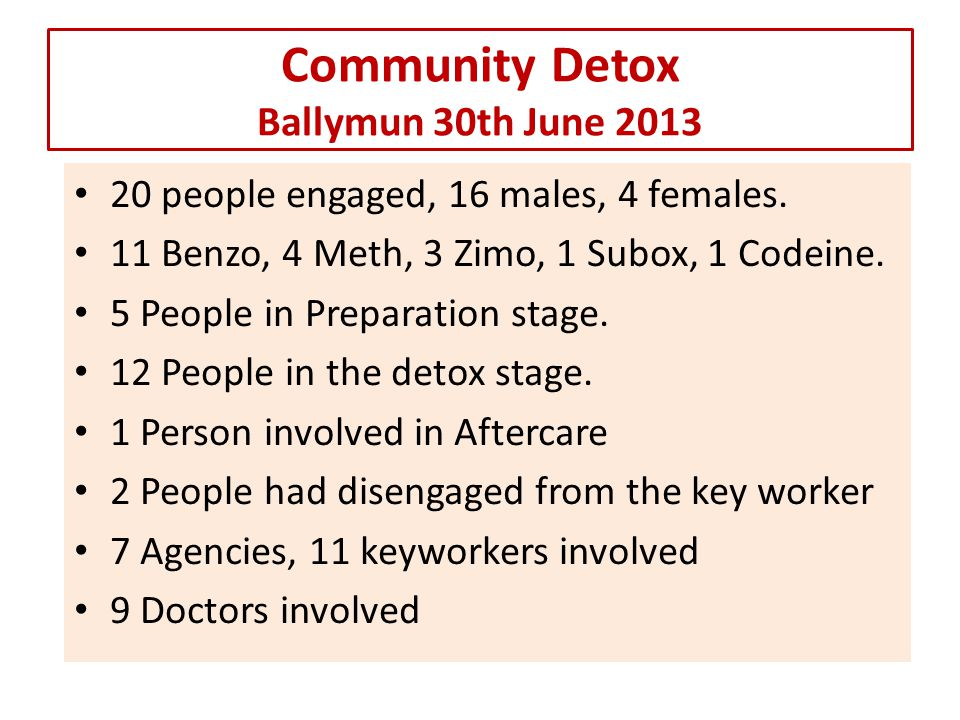 Community Detox Ballymun 30th June 2013 20 people engaged, 16 males, 4 females.
