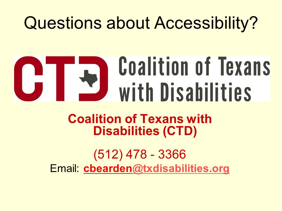Questions about Accessibility.