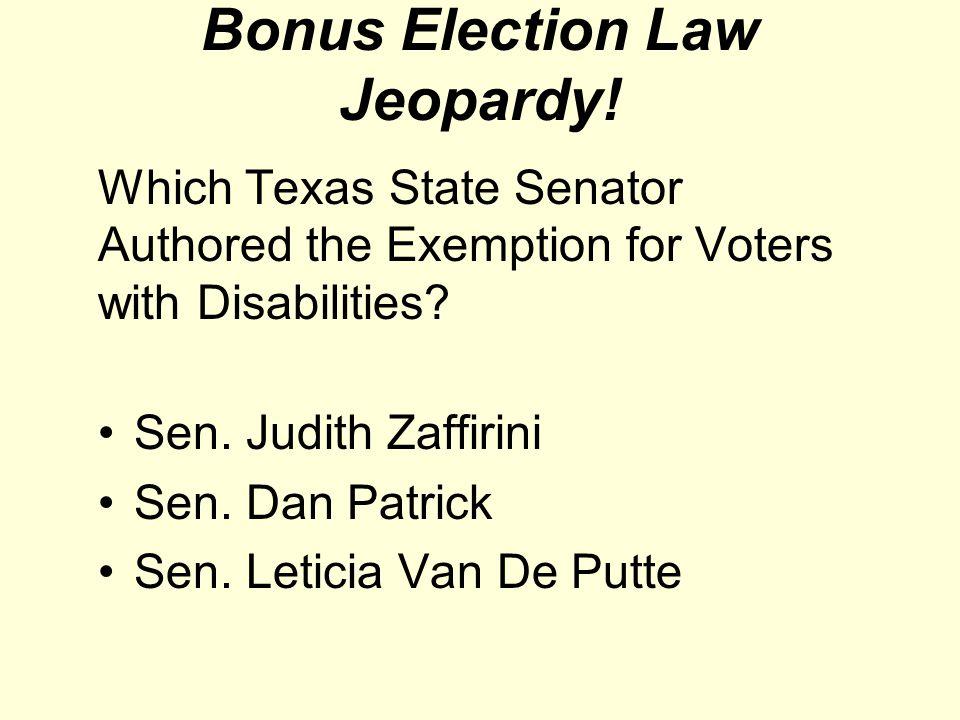 Bonus Election Law Jeopardy.
