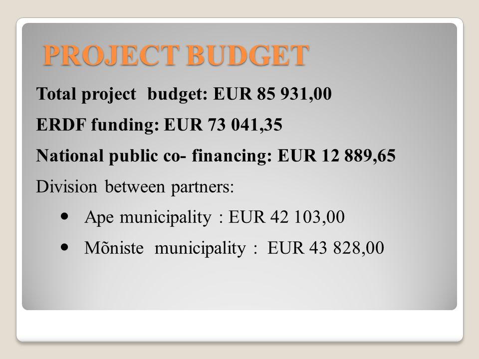 PROJECT BUDGET Total project budget: EUR 85 931,00 ERDF funding: EUR 73 041,35 National public co- financing: EUR 12 889,65 Division between partners: Ape municipality : EUR 42 103,00 Mõniste municipality : EUR 43 828,00