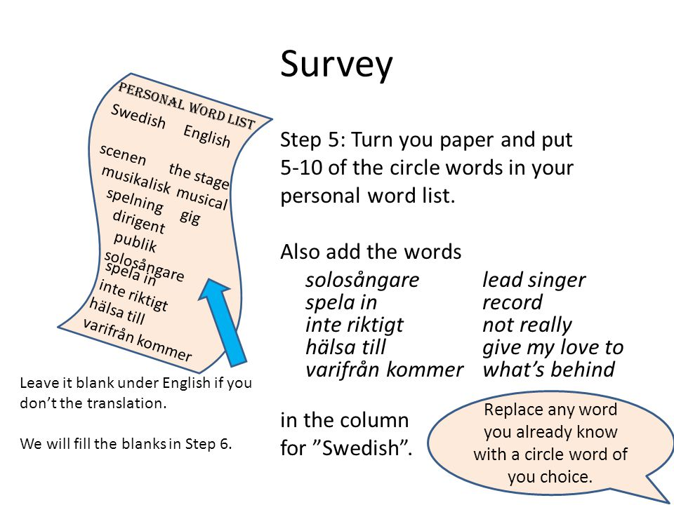 Survey Step 5: Turn you paper and put 5-10 of the circle words in your personal word list.