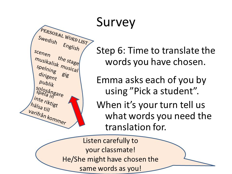 Survey Step 6: Time to translate the words you have chosen.