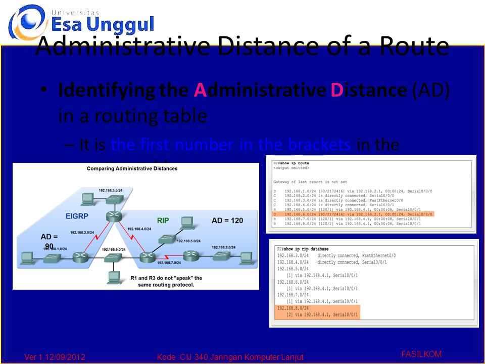 Ver 1,12/09/2012Kode :CIJ 340,Jaringan Komputer Lanjut FASILKOM Administrative Distance of a Route Identifying the Administrative Distance (AD) in a routing table – It is the first number in the brackets in the routing table