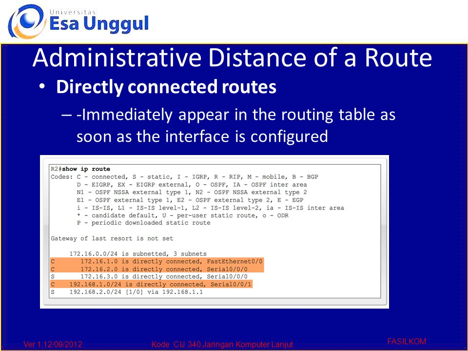 Ver 1,12/09/2012Kode :CIJ 340,Jaringan Komputer Lanjut FASILKOM Administrative Distance of a Route Directly connected routes – -Immediately appear in the routing table as soon as the interface is configured