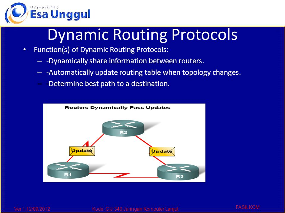 Ver 1,12/09/2012Kode :CIJ 340,Jaringan Komputer Lanjut FASILKOM Dynamic Routing Protocols The purpose of a dynamic routing protocol is to: – -Discover remote networks – -Maintaining up-to-date routing information – -Choosing the best path to destination networks – -Ability to find a new best path if the current path is no longer available